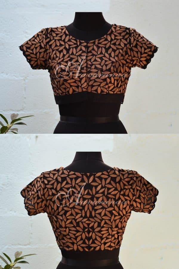 Black cut-work silk blouse-0