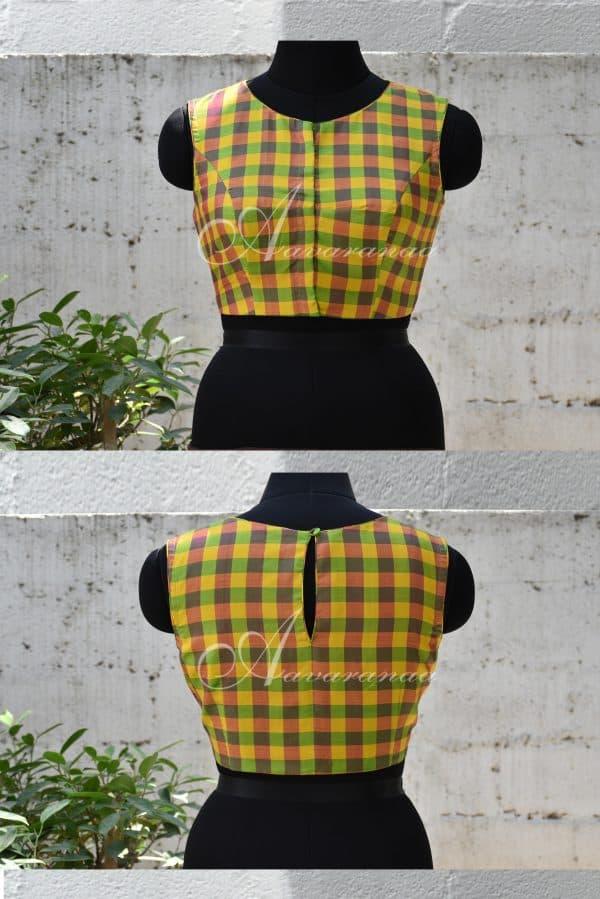 Yellow and green kachi silk blouse-0