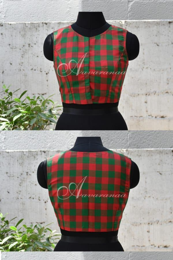 Red and green kachi silk blouse-0