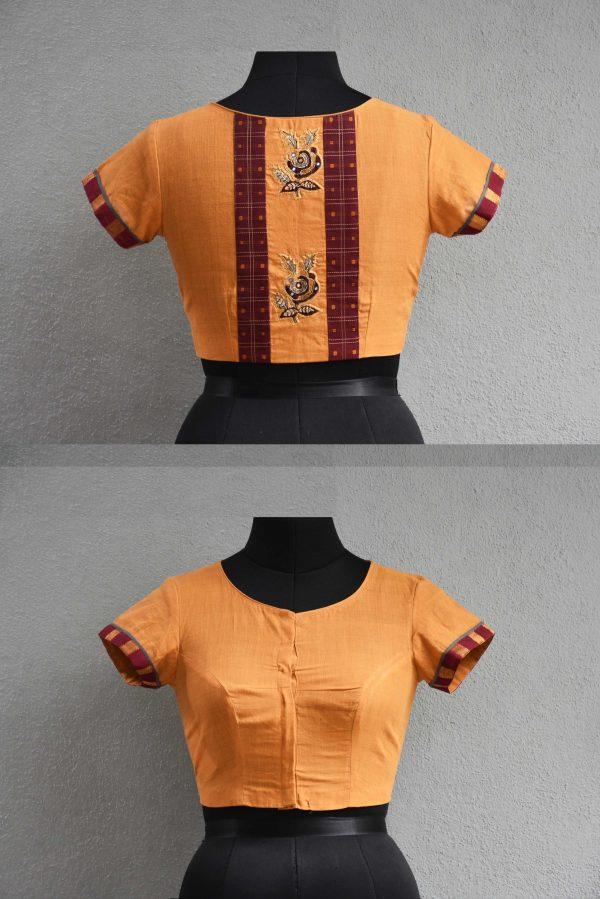 Orange and maroon cotton blouse
