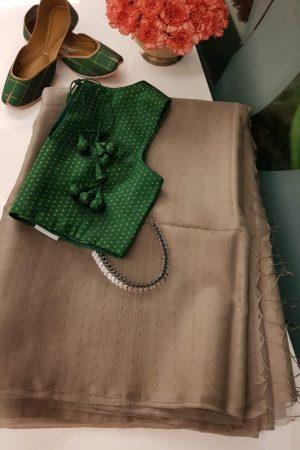 light brown organza sequins saree