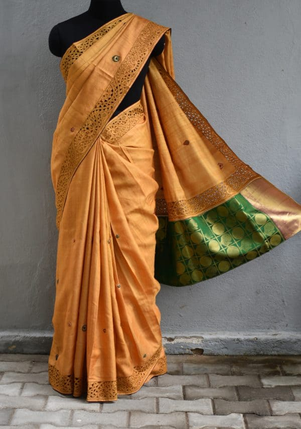 Mustard cutwork tussar saree with silk pallu