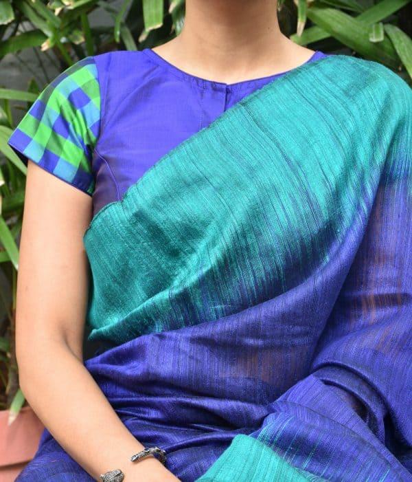 Blue and green checks kanchi silk blouse (2)
