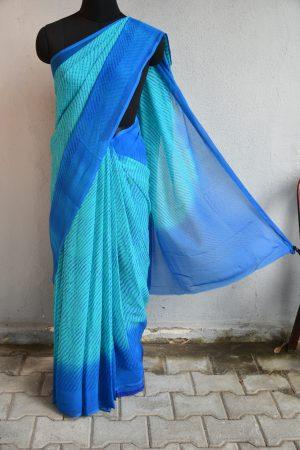 Blue chiffon bandhini saree