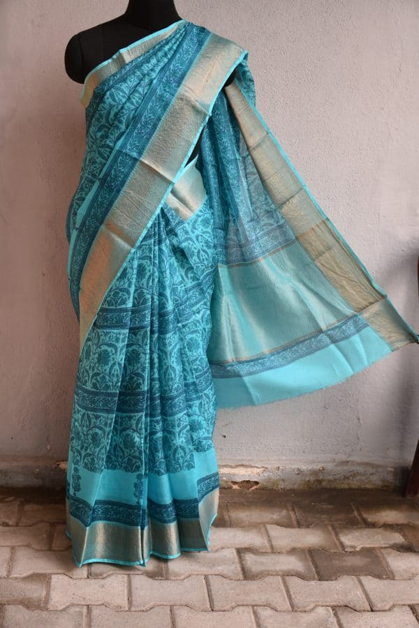 Blue printed silk kota saree with zari border