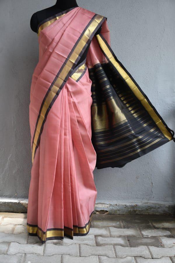 Blush pink organza kanchi silk saree with brown border