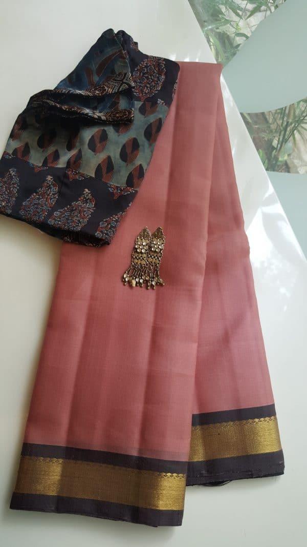 Blush pink organza kanchi silk saree with brown border1