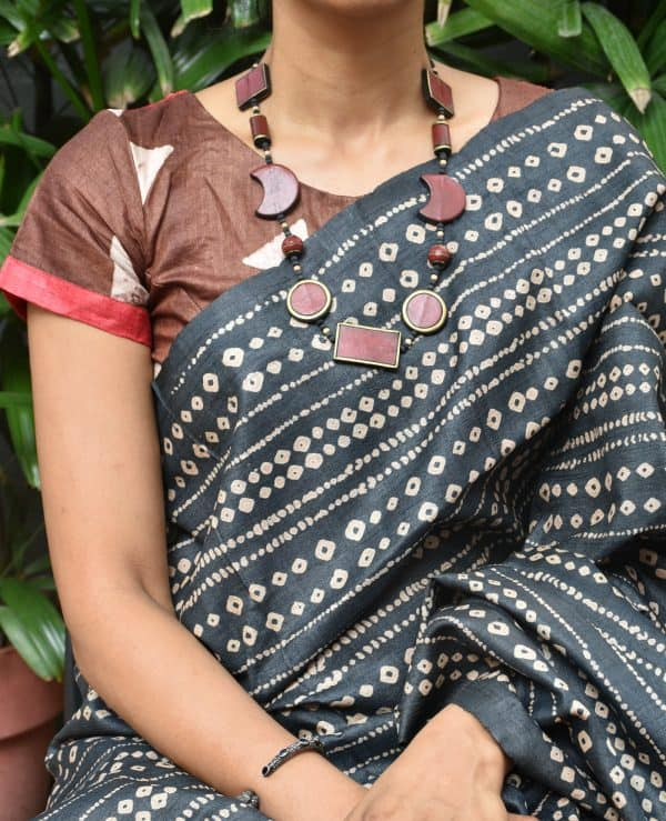 Brown and red tussar silk blouse