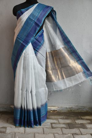 Cream handloom linen saree with indigo border