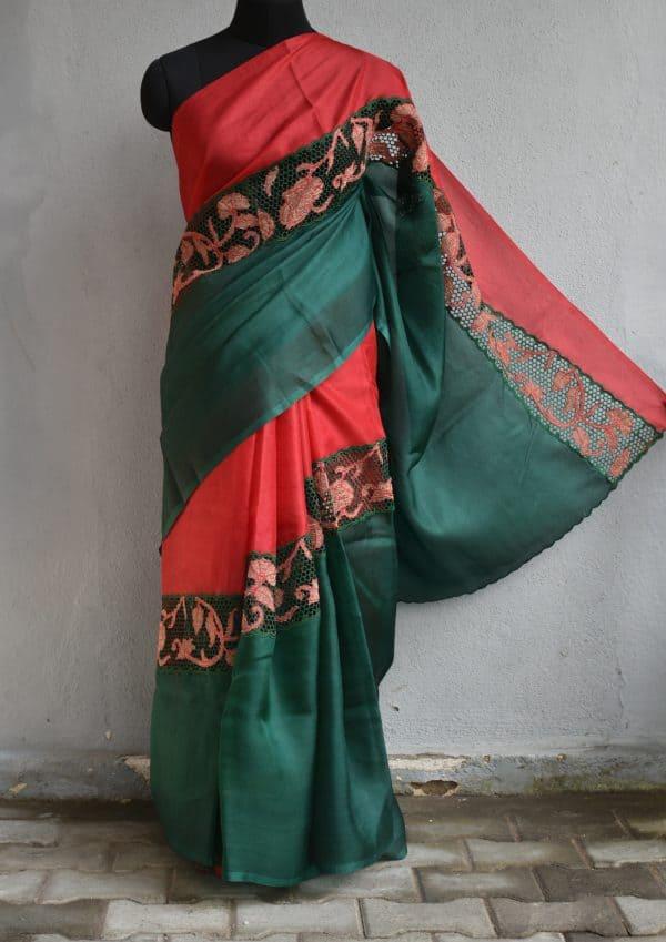 Green and red rising cutwork organza saree