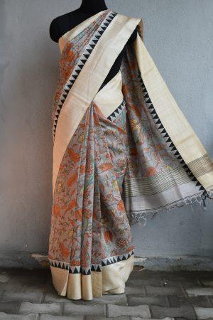 Grey printed tussar saree with woven border