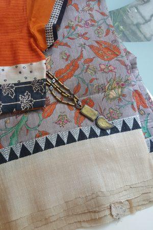Grey printed tussar saree with woven border1