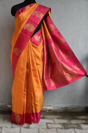 Mustard jacquard weave kanchi silk saree with mango border
