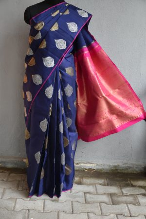 Navy blue kanchi silk saree with gold and silver zari