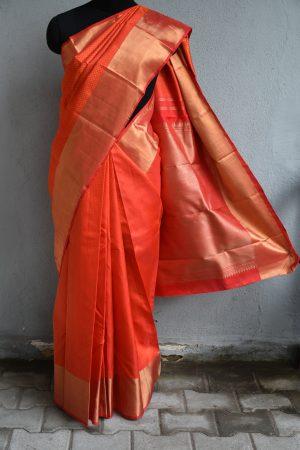 Oragne kanchi silk saree with jacquard weave