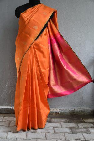 Orange kanchi silkOrange kanchi silk saree with jacquard weave saree with jacquard weave1