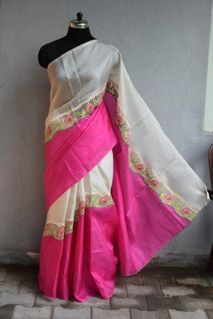 Pink and beige rising cutwork organza saree