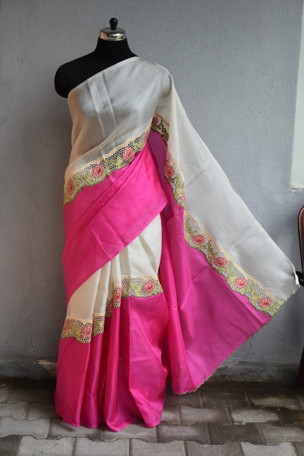 Pink and beige rising cutwork organza saree