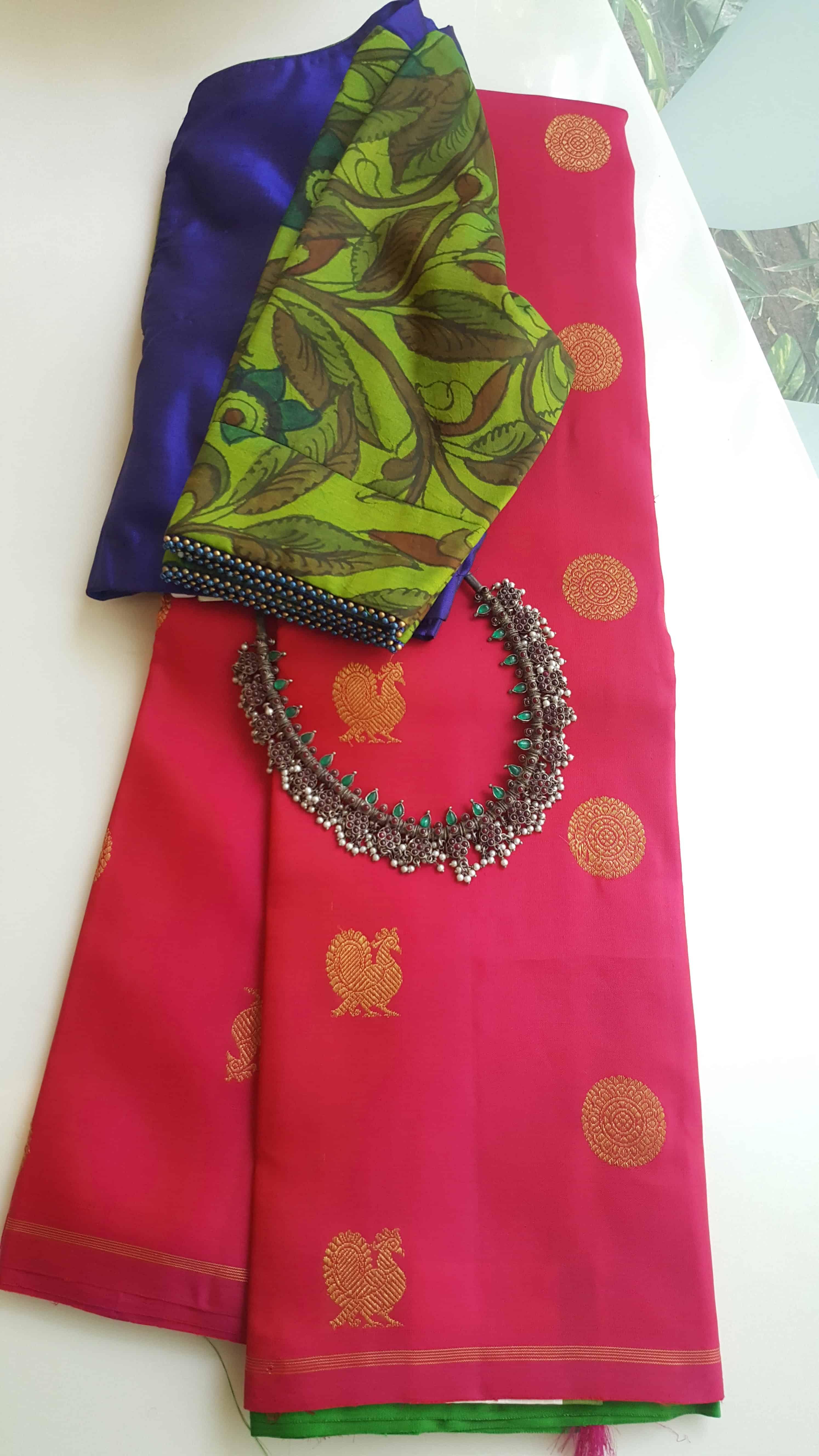 0c5e0af81d8282 Pink peacock design kancheepuram silk saree with green pallu · Pink ...