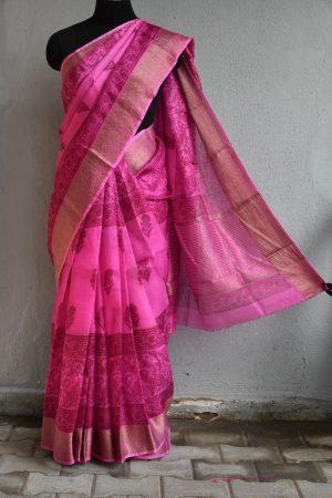 Pink printed hand woven with zari border silk kotta saree