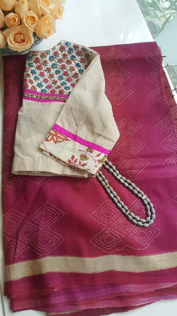Pink rust shaded shibori kantha tussar saree 1