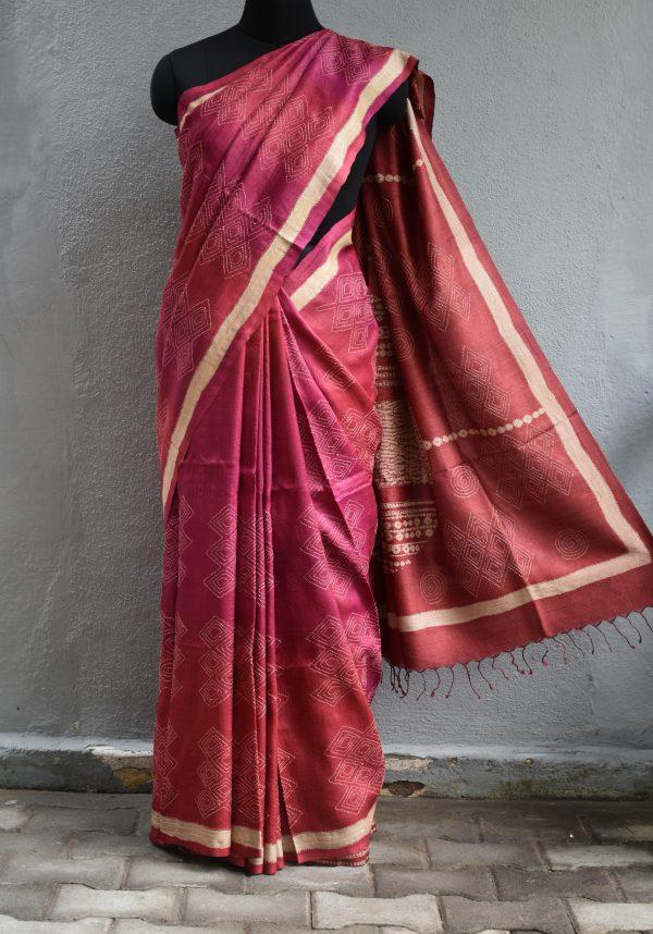 Pink rust shaded shibori kantha tussar saree