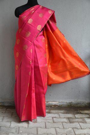 Pink tree design kanchi silk saree