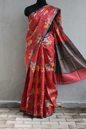 Red floral printed tussar saree