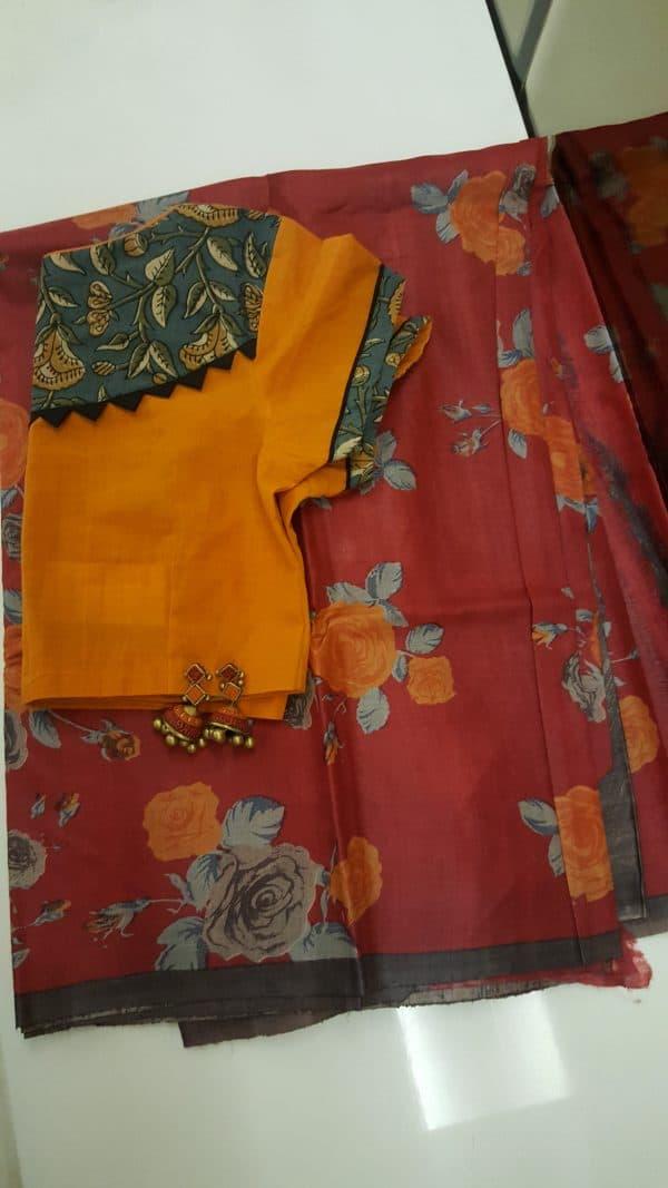 Red floral printed tussar saree1