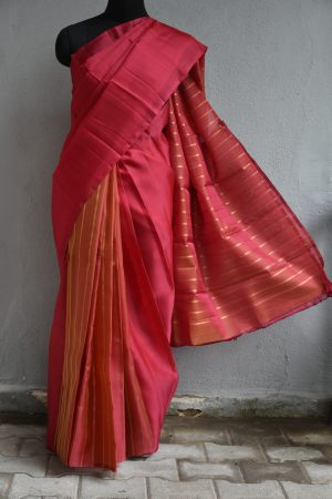 Red zari strips partly organza kanchi silk saree