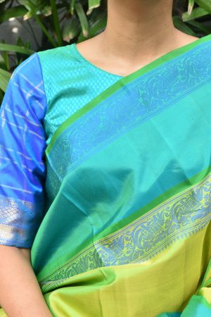 Teal and blue kanchi silk jacquard ready to wear blouse
