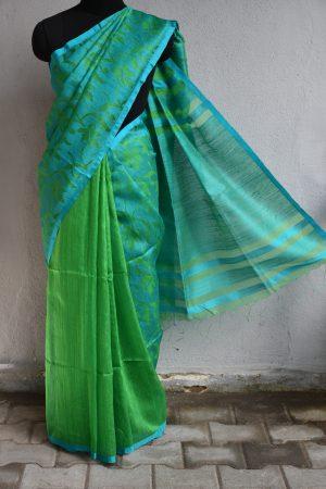 Teal matka with organza thread weaving saree