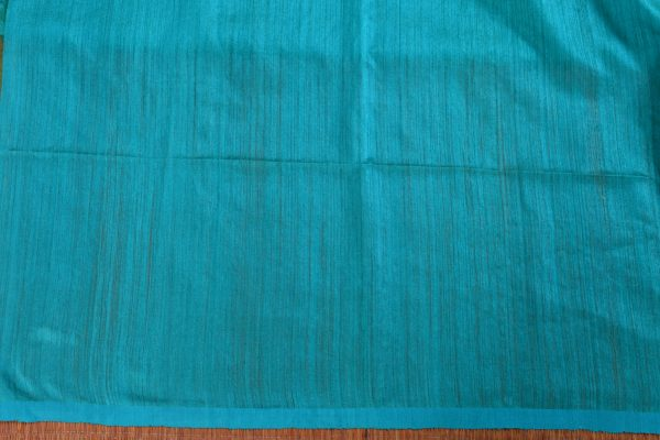 Teal matka with organza thread weaving saree blouse