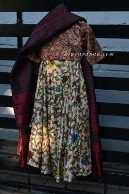 Silk kalamkari lehenga banaras brocade blouse and silk dupatta