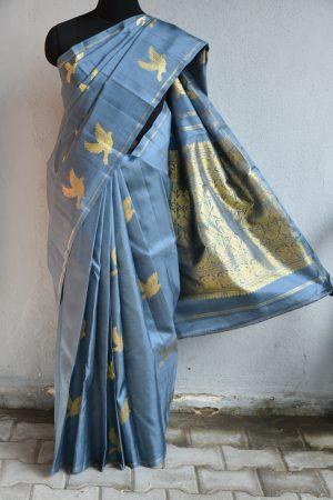 Dark grey bird design kanchi silk saree