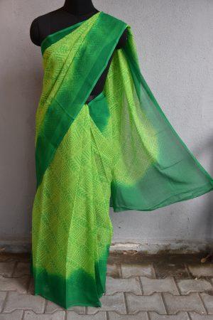 green chiffon bandhini saree