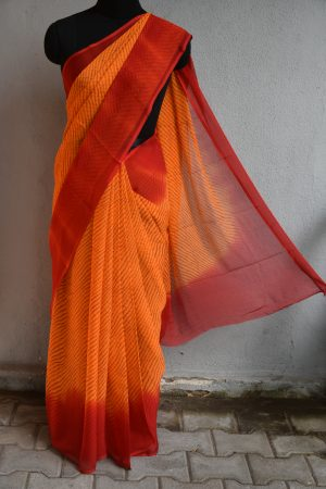 orange chiffon bandhini saree1