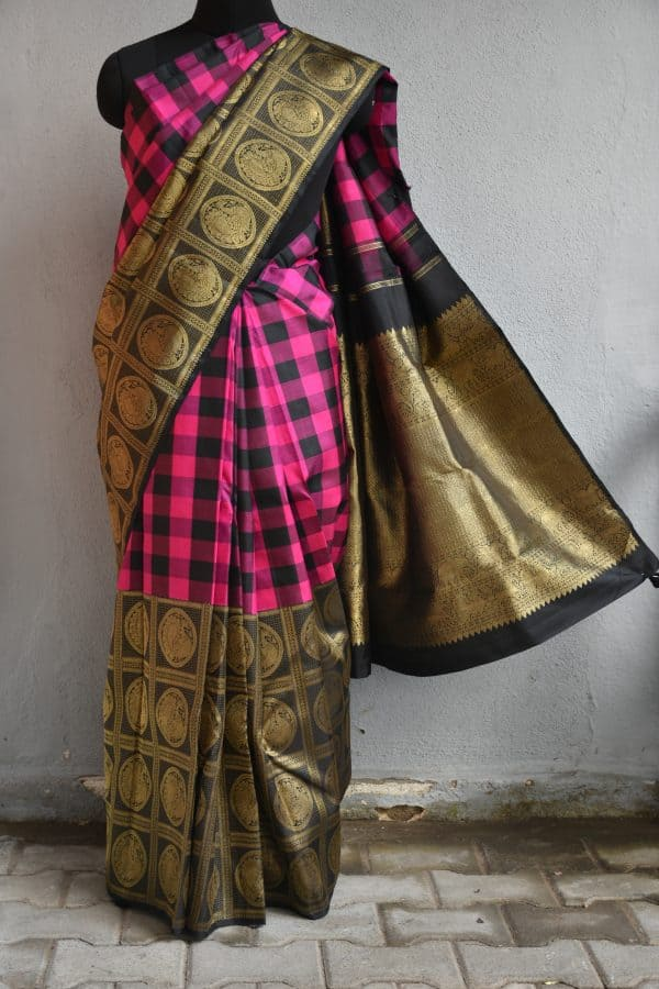 pink and black one side checks kanchi silk saree