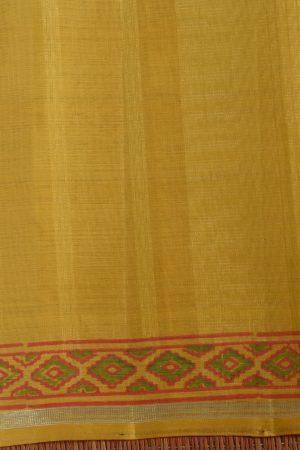 yellow organza kanchi silk saree with block print blouse