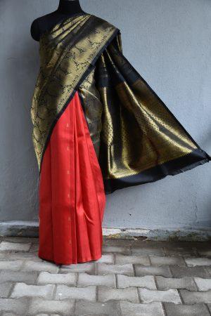 Black and red half an half kanchi silk saree