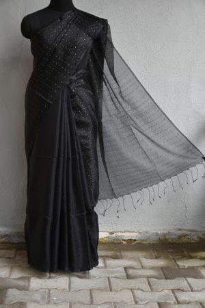 Black handloom sequins organza Saree
