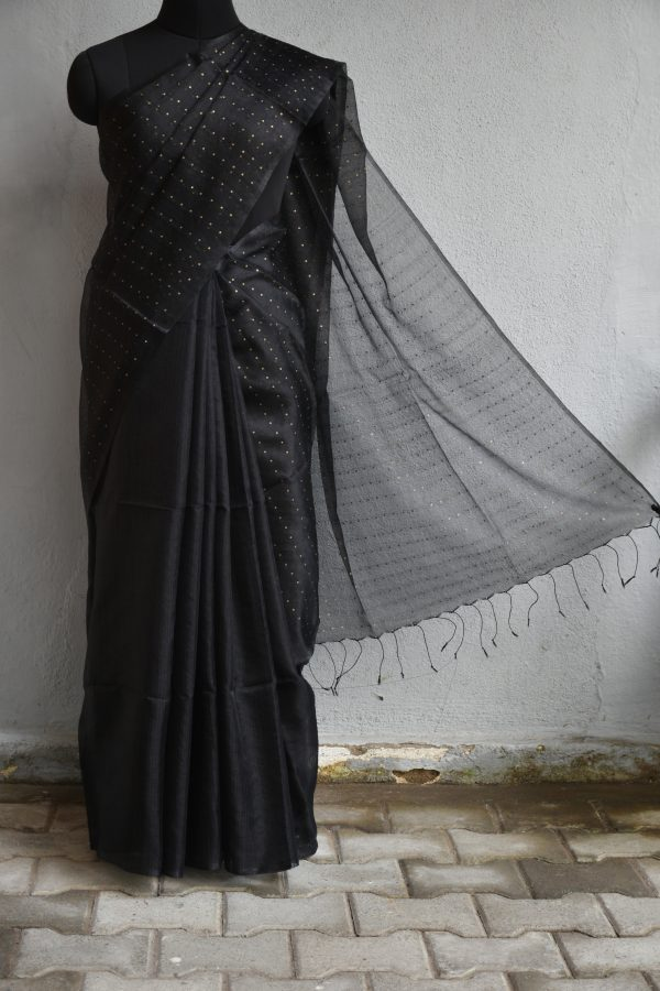 Black handloom sequins organza Saree
