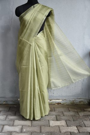 Blush green handloom sequins organza Saree