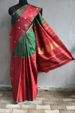 Bottle green and maroon zari buttas kanchi silk saree