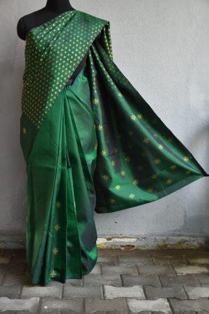 Bottle green shoulder design kanchi silk saree
