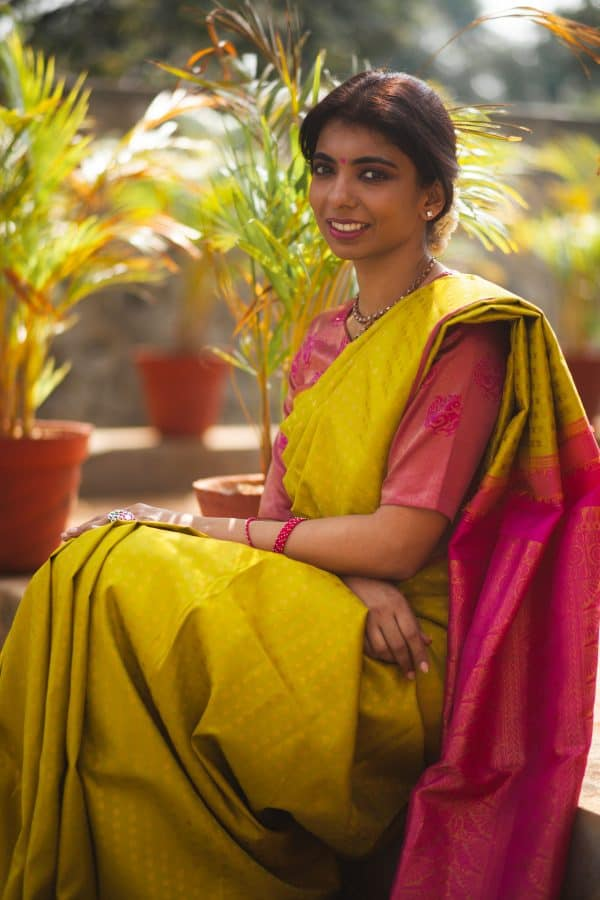Bright green pure zari kanchi silk saree