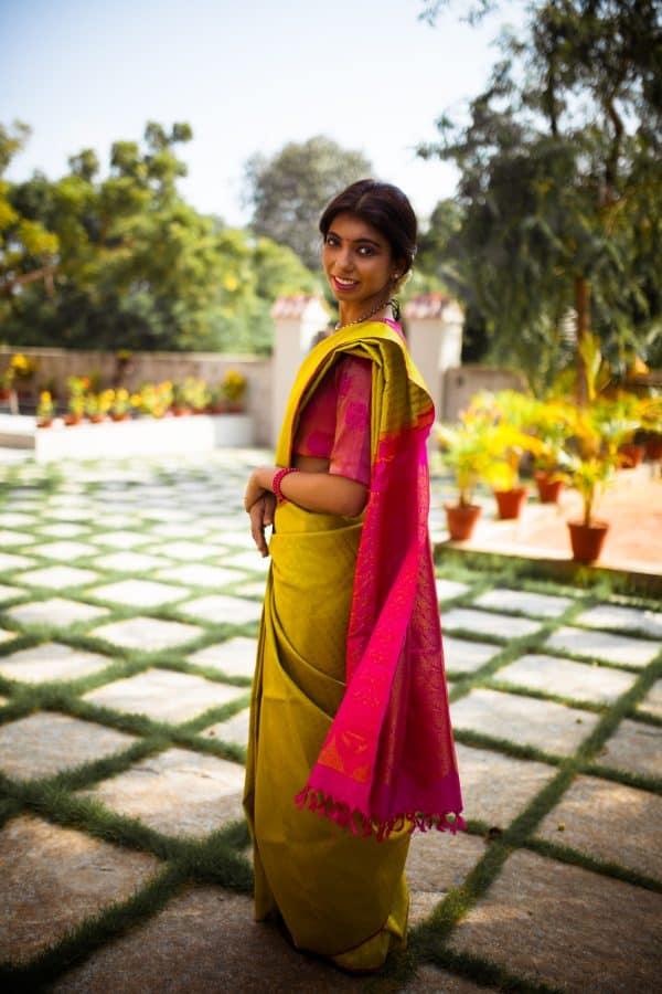 Bright green pure zari kanchi silk saree1