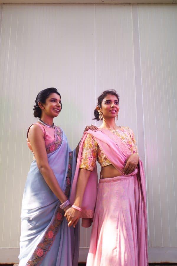 Grey chiffon saree with pink and green sequins cut work border2