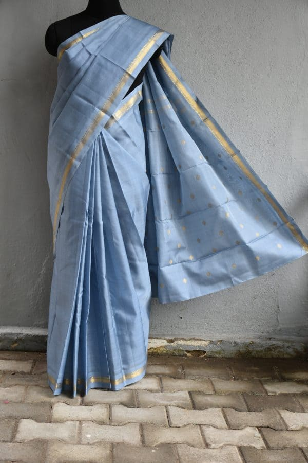 Grey organza kanchi silk saree with zari border