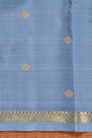 Grey organza kanchi silk saree with zari border blouse
